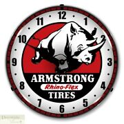 Armstrong Tires Rhino-flex Logo Red Wall Clock 14 Led Lighted Back Made Usa New