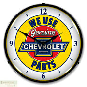 Chevrolet We Use Genuine Parts Wall Clock 14 Led Light Backlit Chevy Gm Usa New
