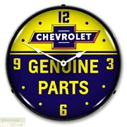Chevrolet Bowtie Genuine Parts Logo Wall Clock 14 Led Lighted Back Made Usa New
