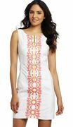 Lilly Pulitzer Kolby Resort White Sunny Embroidery Placed Zip Shift Dress