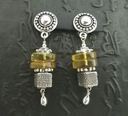 Sterling Silver And Baltic Amber Earrings By Kate Nolan 2.5 Long = 6.5 Cm Long