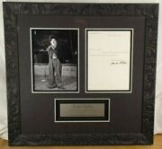 Charles Chaplin 'the Tramp' Silent Film Era Icon Autograph Letter Framed Display