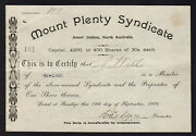 Share Scrip - Mining. 1916 Mount Plenty Syndicate - Amoand039s Station Nth Australia