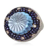 20.71ct Sapphire Cocktail Ring 14k Yellow Gold Silver Jewelry