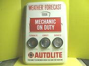 Autolite Sign Weather Forecast Thermometer Humidity Barometer Gauges 1950's