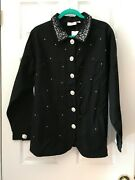 Quacker Factory Black Simulated Pearl And Stone Stretch Jacket Xl