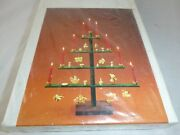 Vtg Nos Sevi Wooden Christmas Tree Candle Holder W/ Ornaments Made In Italy