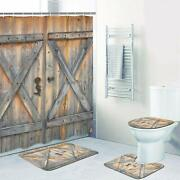 4 Pcs Rustic Barn Door Shower Curtain Set With Non-slip Rug Toilet Lid Cover
