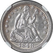 1848-p Seated Liberty Dime Ngc Ms64 Key Date Nice Luster Great Color