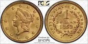 1853 1 Gold Liberty Head Us Coin Pcgs Certified Ms65 Gold Label Secure Holder