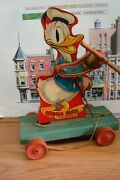 Vintage 1930's Fisher Price 400 Donald Duck And Twirling Baton Fp Wooden Pull Toy
