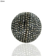 Ball Bead Spacer Finding 6.74ct Pave Diamond 925 Sterling Silver Vintage Jewelry