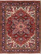 Medallion Hand-knotted Heriz Geometric Oriental Area Rug Home Decor Carpet 5and039x6and039