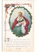 Mary And Baby Jesus Vintage 1919 Embossed Christmas Postcard 2 Slogan Cancel