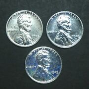 1943 P D S Lincoln Steel Penny Cent Ddo Double Die Mint Mark Rpm Lot Of 3