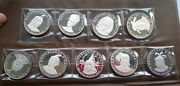 Haiti 1971 Indiens Chiefs 10 Gourde Set Of 9 Silver Coins,proof
