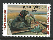 Wv-7, 1990 West Virginia Resident Duck Stamp, 5.00 Lab Retriever And Decoy
