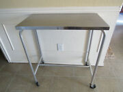 Tall Hospital Medical Instrument Utility Rolling Cart Table Stainless Steel