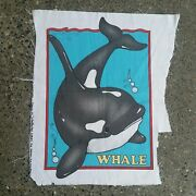 Rare 1993 Daisy Kingdom Orca Killer Whale Fabric Panel Designed By Laurie