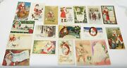 18 Old Antique Assorted Santa Claus Holiday Christmas Postcards Hot Air Balloon