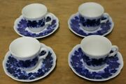 4 Gefle Vinranka Percy Flow Blue China Sweden Demi Demitasse Cups And Saucers