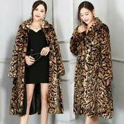 Womenand039s Sexy Leopard Print Mink Fur Long Swing Coat Trench Thick Winter Outwears