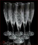 Bohemia Crystal Champagne Glasses 25 Cm, 220 Ml, Cold Flowers Deluxe 6 Pc New