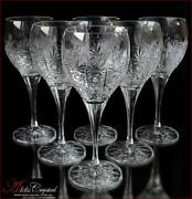 Bohemia Crystal Wine Glasses 21 Cm, 340 Ml, Cold Flowers Deluxe 6 Pc New