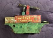 Marx Popeye Handcar Hand Car Wind Up C. 1930and039s For Parts Or Repair Mar