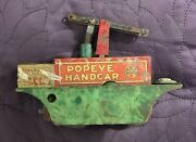 Marx Popeye Handcar Hand Car Wind Up C. 1930's For Parts Or Repair Mar