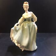 Royal Doulton Figurine Hn 2193 Fair Lady, Woman In Green Dress Holding Hat