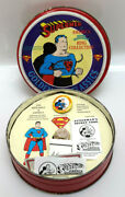 1995 Supermen Of America Ring Collection Silver Ring And Button In Tin M-7677