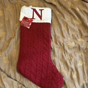 St. Nicholas Square N 21andrdquo Monogramed Stocking Knit Red White Sold Out New Xmas
