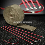 25and039/7.5m 2w Exhaust Downpipe Titanium Heat Wrap+stainless Red Zip Tie Cable