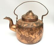 Early Antique Hammered Copper Tea/water Kettle Gooseneck Dovetail Strap Handle