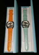 Two 2 Ladies Waltham Quartz Watches. Genuine Leather Bands. New In Box. Nice