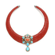 925 Sterling Silver Diamond Pave Coral And Turquoise Vintage Style Torque Necklace