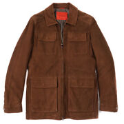 Nwt 4250 Isaia Brown Water-repellent Suede Aqua-leather Field Jacket L Eu 52