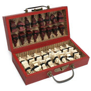 China Qin Dynasty Army Style 32 Bull-bone Pieces Chess Set And Leather Wood Box