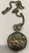 Milan Pocket Quartz Watch With Chain Hunting With Dogs Silver Golden Tone