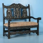 Carved Antique 19th Century Italian Upholstered Oak Bench Painted Black