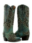 Womens Angel Wings Cross Leather Cowboy Boots Turquoise Studded Snip Toe