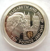 Guernsey 1997 Royal Wedding 10 Pounds Gold Plated 5oz Silver Coin,proof