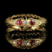 Antique Edwardian Ruby Diamond Ring 18ct Dated 1919