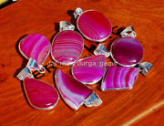 New 100 Pcs Lot Natural Pink Banded Agate 925 Silver Plated Bezel Pendants Bbp-6