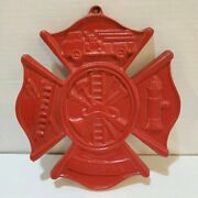 Red Fireman Plaque Maltese Firefighter Cross, Cast Iron Sign 8 X 3/8 Inches Red