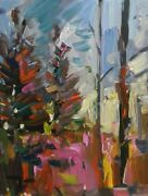 Jose Trujillo Impressionist Oil Painting Pine Trees Collectible Artworks Signed