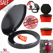 Portable Black Brand Honey Bucket Toilet Seat Cover Camping Outdoor Travel New