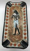 Vintage Egyptian Revival Ceramic Bischoff Brandy Decanter Bottle Ashtray Italy
