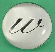 Glass Paperweight W Initial In Cursive Domed Shape 3.15 Distributed By Michaels
